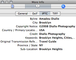 Apple Preview IPTC info