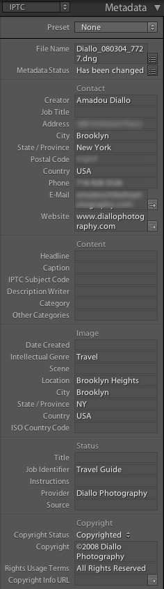 Lightroom IPTC Metadata
